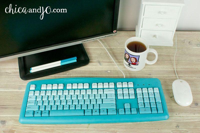 DIY ombré painted computer keyboard