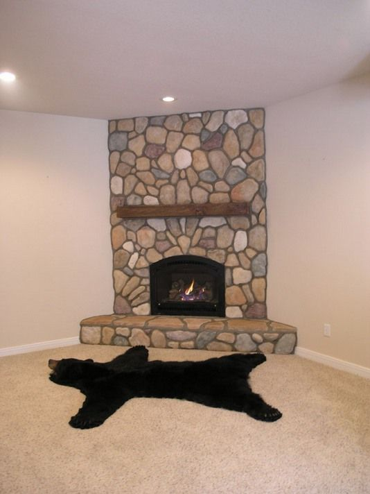 Corner Fieldstone Fireplace With Insert Fireplace Bliss