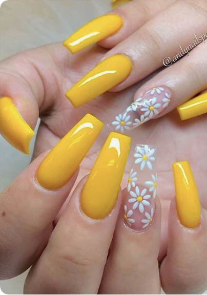 80 Prettiest Colorful Coffin Nails For The Beginning Of 2020 In 2020 Cute Spring Nails Sunflower Nails Cute Summer Nails