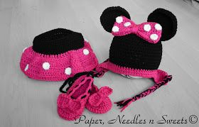 Free Crochet Pattern - Minnie Hat and Diaper Set (Mickey Hat is on the same pattern page)