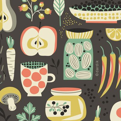 Helen Dardik. fabric for kitchen materials; so retro and cute, maybe for a tea towel or a recipe book cover? (KLH)