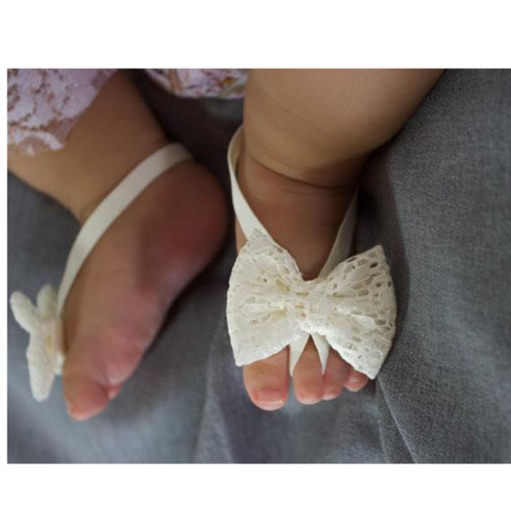 New Infant Baby Floral Beach Toddler Feet Band Sandals Lace Foot Flower
