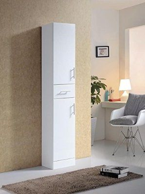 Veebath Linx Bathroom White Gloss Vanity Furniture Storage Tallboy Cupboard Unit 350mm X 300mm Furniture Vanity Tall Cabinet Storage White Bathroom