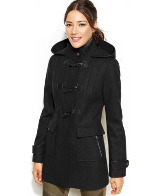 Laundry By Design Faux Leather Trim Hooded Toggle Front Coat Coat Coats For Women Cold Weather Wear