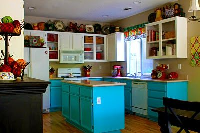 Elegant Colorful Kitchen Makeover To Invite Cheerful Feeling: Colorful Light Blue Kitchen  Makeover Photo Gallery