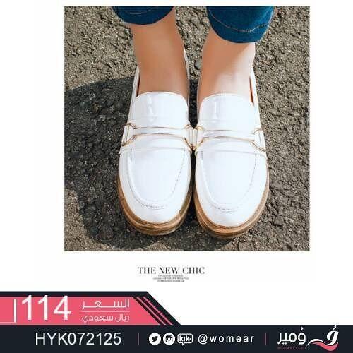 لعاشقات اللون الأبيض الناصع حذاء نسائي احذية عصرية ستايل شوزات جزم شوز احذيه فاشن Fashion Loafers Shoes