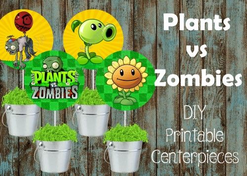 Plants vs Zombies Centerpieces, Plants vs Zombies birthday party   PapelPintadoDesigns - on ArtFire