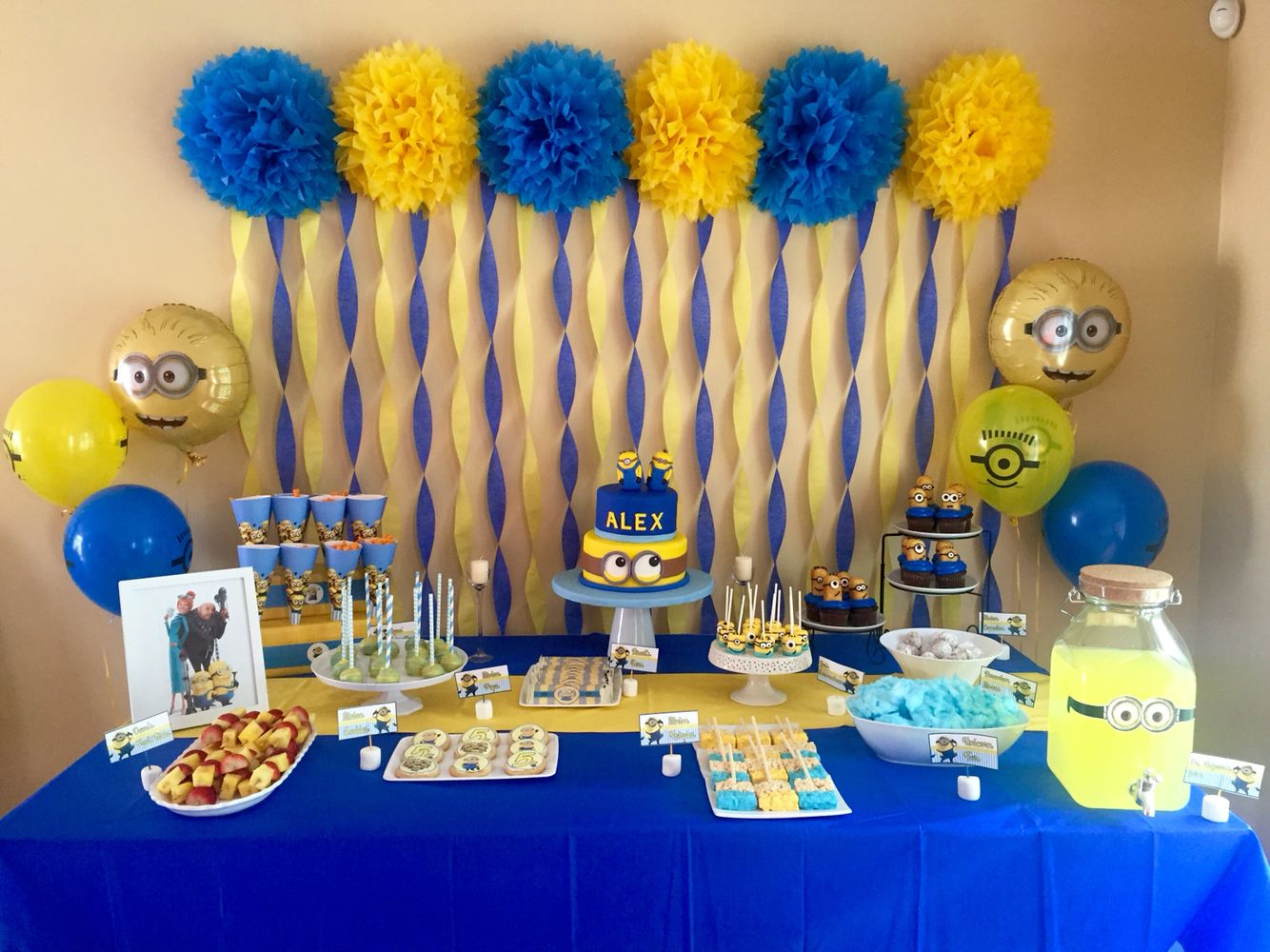 Alexs 5th Minion Birthday Party My Funnest Setup YET Tags Minions Boys Yellow And Blue Poms Streamers Snack Table Snacks