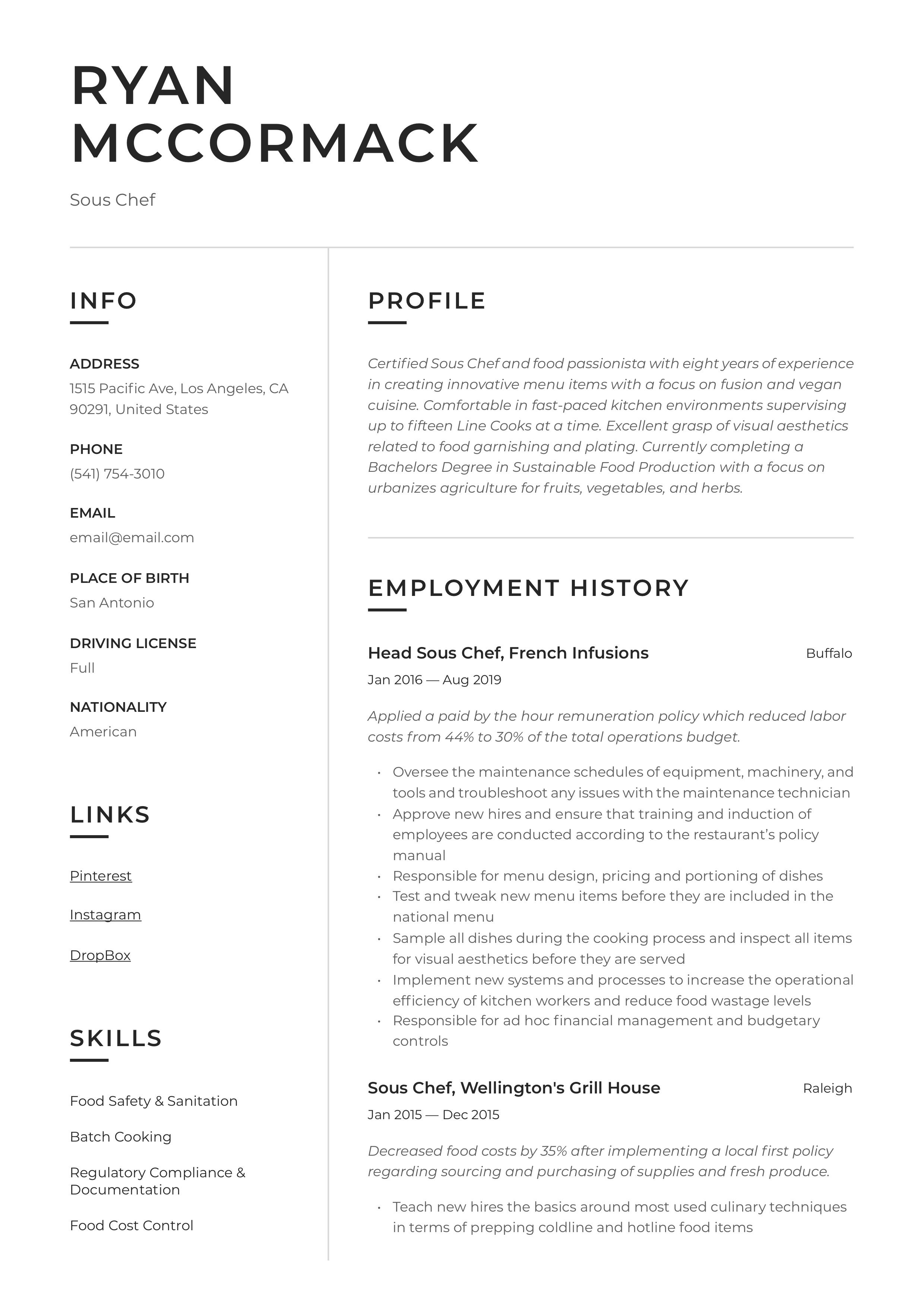 professional sous chef resume  template  design  tips