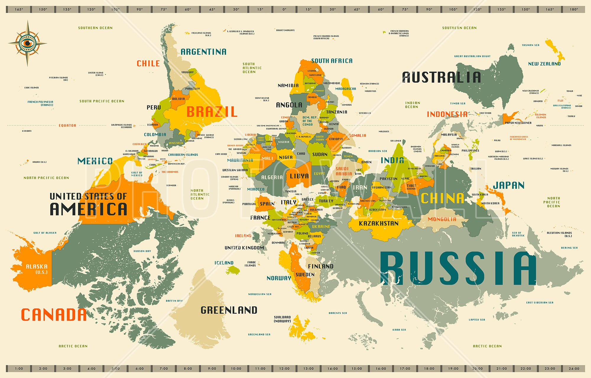 fun, upside-down map] - World Map Explore Upside Down - Wall Mural ...