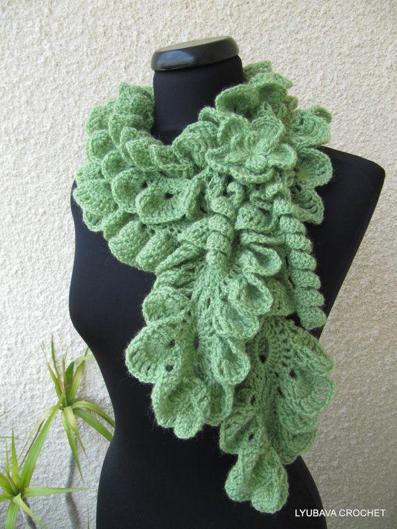 Crochet Ruffled Scarf Scarflette, Fashion Neckwarmer, Ready To Ship ...