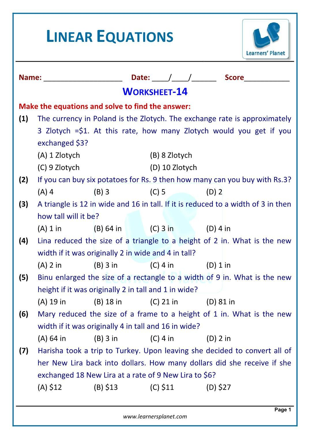4 Linear Equations In One Variable Word Problems Worksheet