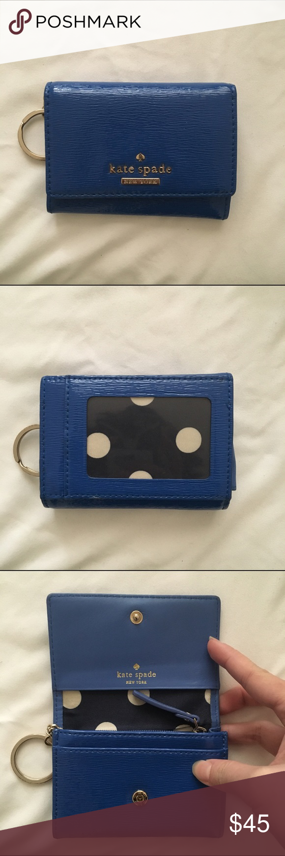 Kate Spade Blue Patent Leather Wallet Kate Spade wallet in good condition. Minor signs of wear. Really useful and practical wallet! Feel free to use offer button. kate spade Bags Wallets