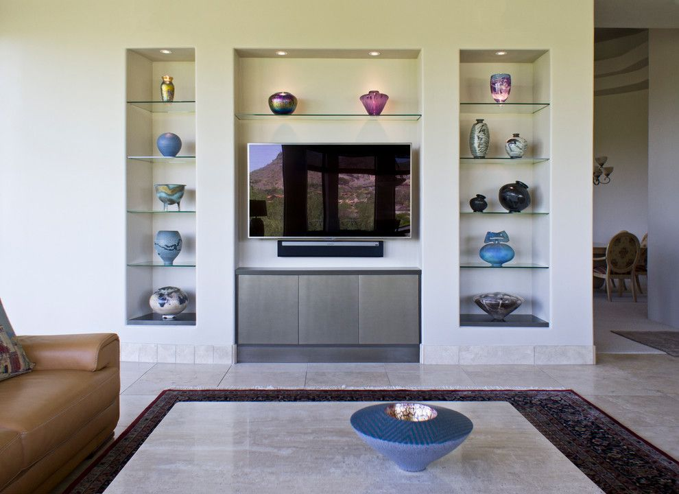 Dining Room Niche Ideas Part - 23: Gorgeous Floating Glass Shelves Mode Phoenix Modern Living Room Decorating  Ideas With Art Display Art Niche Bronze Lacquer Built In For TV Built Ins  ...