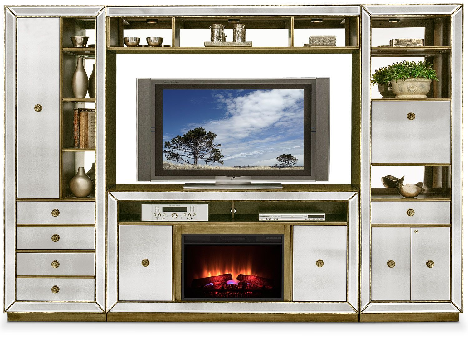 Reflection piece entertainment wall unit with traditional