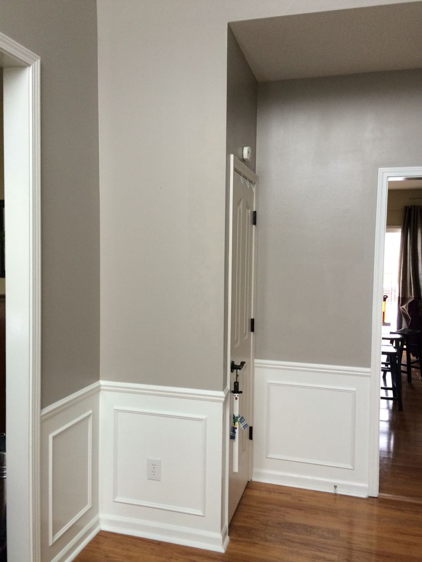 Requisite gray foyer looks better than i could have for Grey interior paint colors