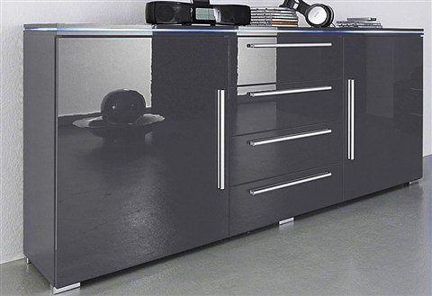 Sideboard grau, mit Aufbauservice, Hochglanz, yourhome Jetzt