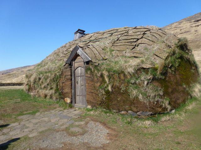 Traditional Icelandic turf house at Eiríksstaðir.