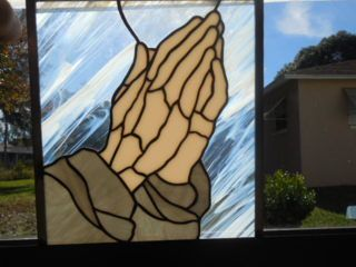 "Durer's Praying hands in pale, peach opal. In my Etsy store http://obanaglass.etsy.com 9-3/8"" x 10-1/2"" $85.00 + $25.00 shipping"