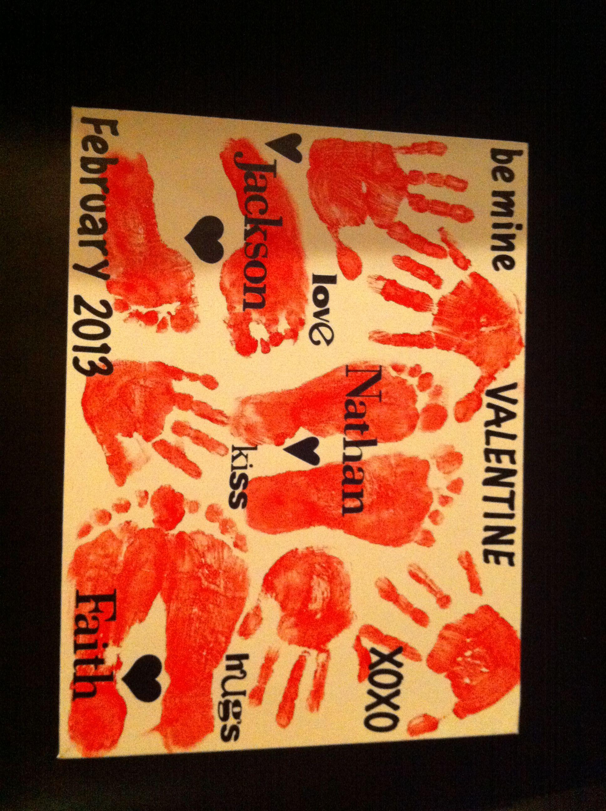 Valentine Hand Foot Print Canvas