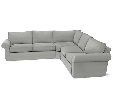 Pearce Slipcovered 3 Piece L Shaped Wedge Sectional Down