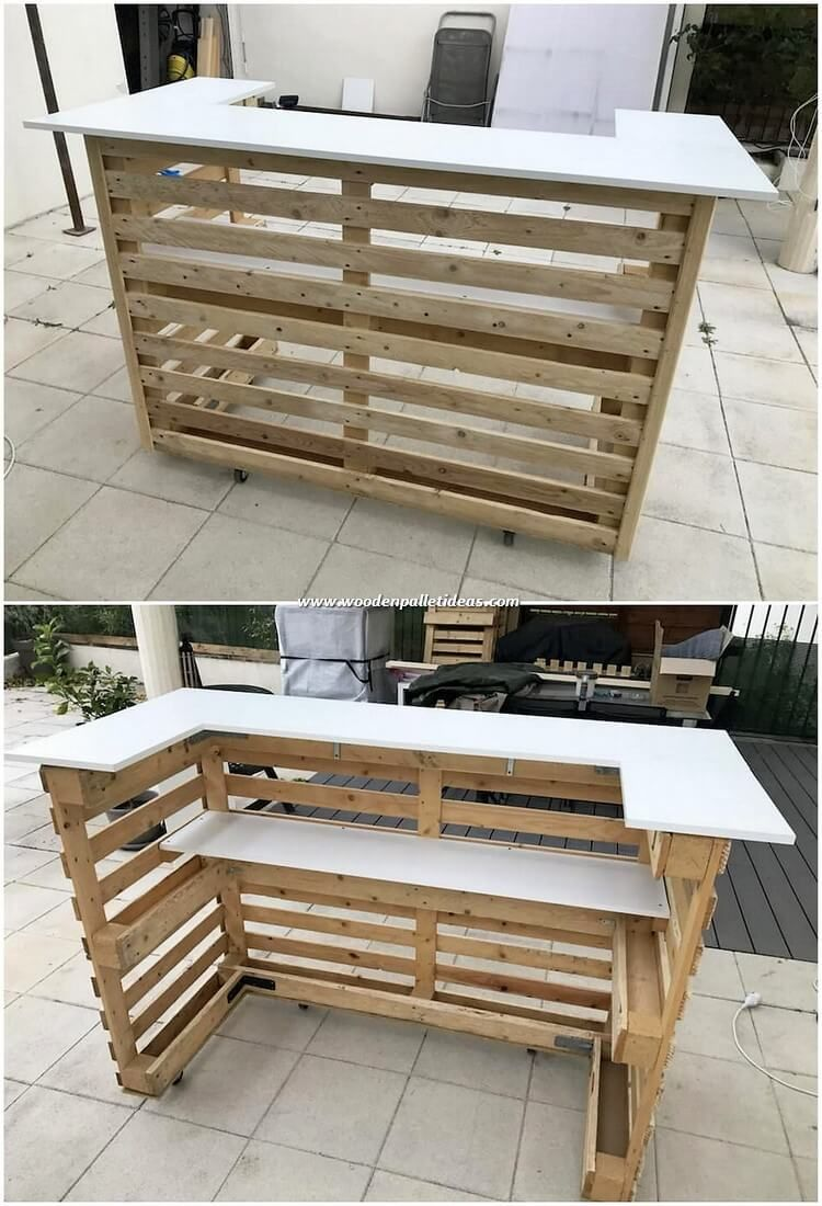 This Counter Table Design Of Wood Pallet Is So Impressive Looking For Your House Outdoor Area Th Pallet Furniture Designs Pallet Bar Diy Wood Pallet Furniture