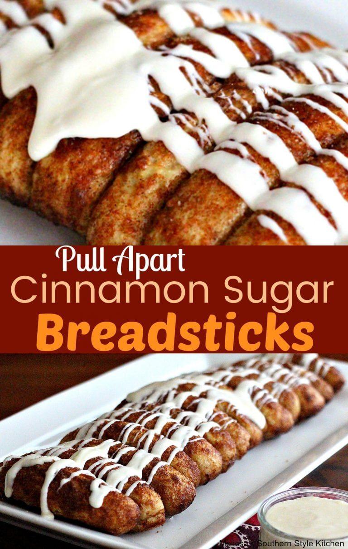 Pull Apart Cinnamon Sugar Bread Sticks With Cream Cheese Dip