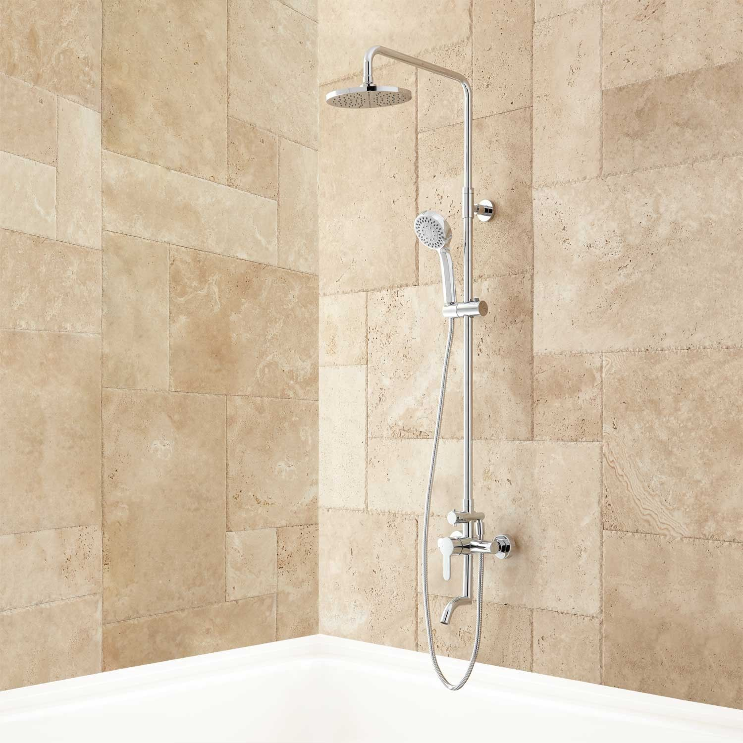 The Mustaine Exposed Pipe Tub And Shower Set Is Designed To Bring Long Lasting Luxury To Your Bathroom This Product Features A Rainfall Shower Head And Tub