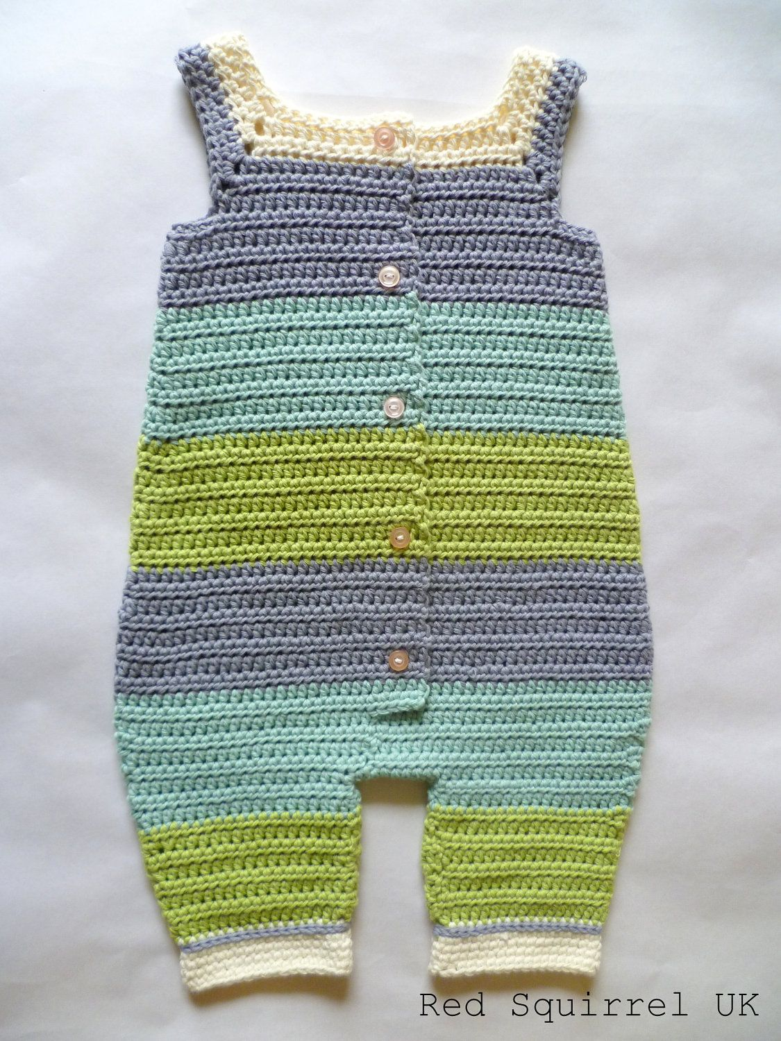 Crocheted Green and Blue Striped Baby Onesie, Romper, Overall ...