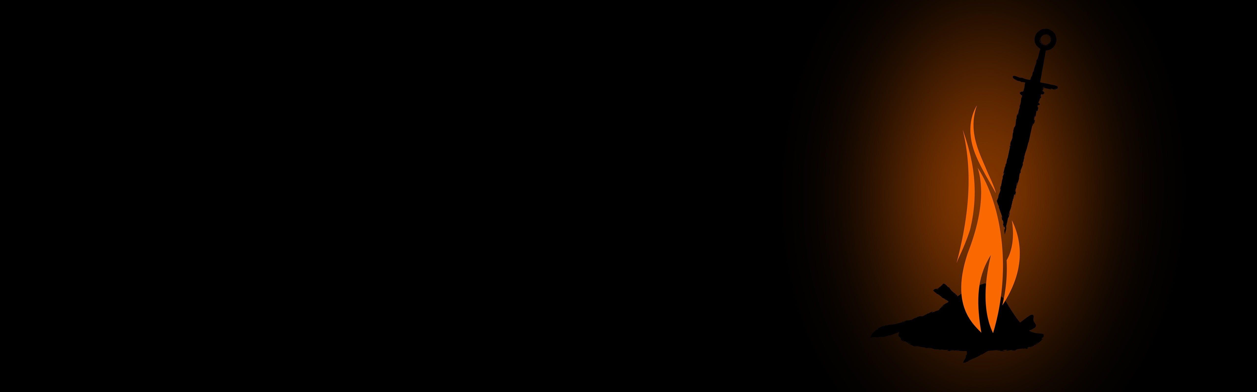 Sword On Fire Artwork Dark Souls Video Games Fire Sword Simple Background Minimalism Dual Monitors Multiple Displ Simple Backgrounds Hd Wallpaper Background Dark souls dual monitor wallpaper