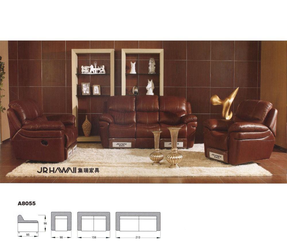 - Living Room Sofa Recliner Sofa, Genuine Leather Recliner Sofa