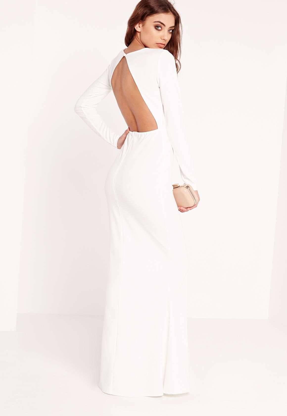 a696afdc108 Long Sleeve Open Back Maxi Dress White