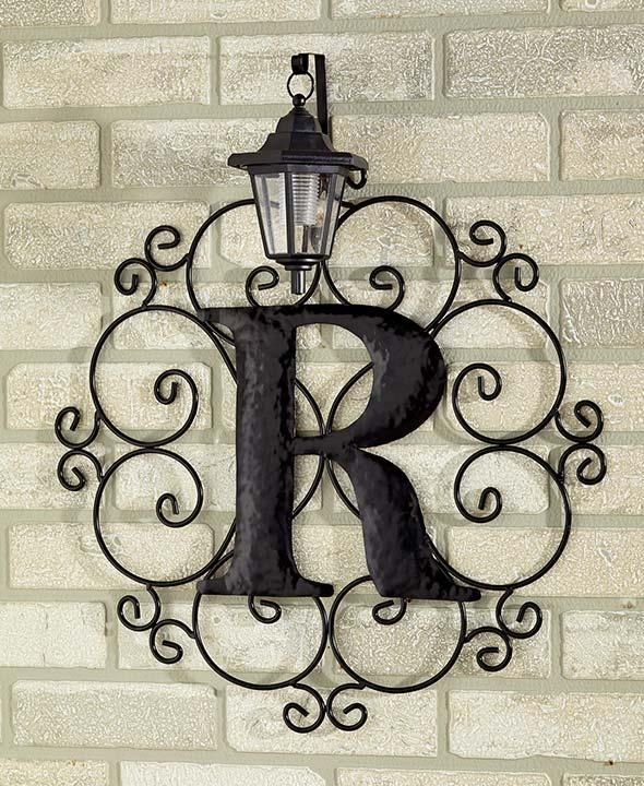 Superb Metal Monogram Solar Light Wall Art Hanging Decor Scrollwork Frame 12  Letters | EBay
