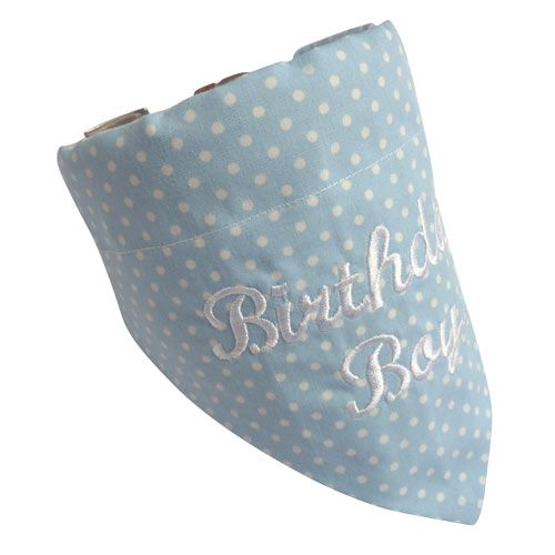 Luxury Dog Birthday Bandana, Blue Polka with White Embroidery, Small/Medium fits 12-18 collar #whiteembroidery