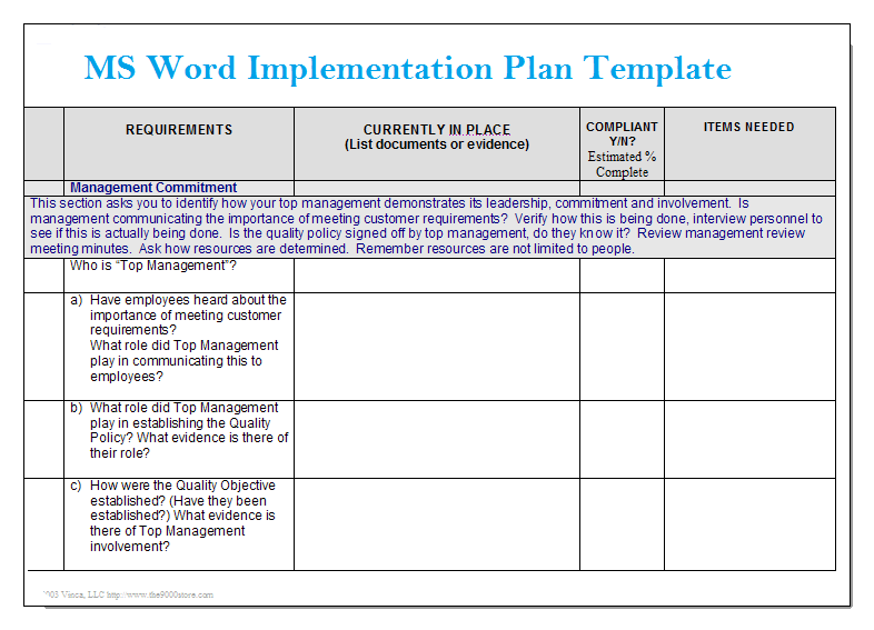 Ms word implementation plan template microsoft word for Project management policy template