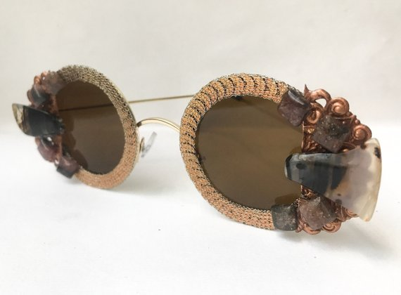 b6326b7c4b6e Stone   Sequin Sunglasses - Round Brown Sunglasses Embellished with Bronze  Sequin Trim