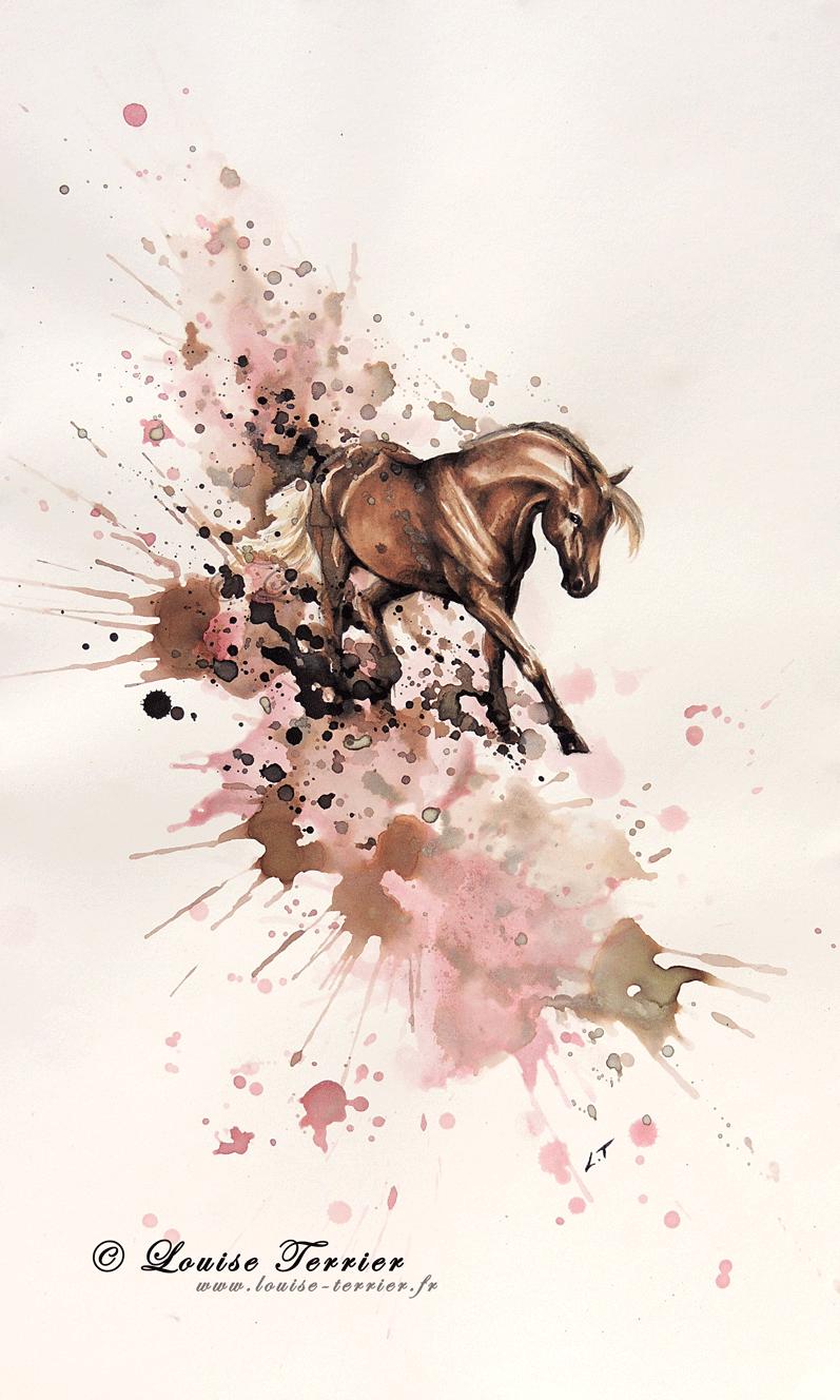 cheval watercolors pinterest encre de chine encre and peinture. Black Bedroom Furniture Sets. Home Design Ideas