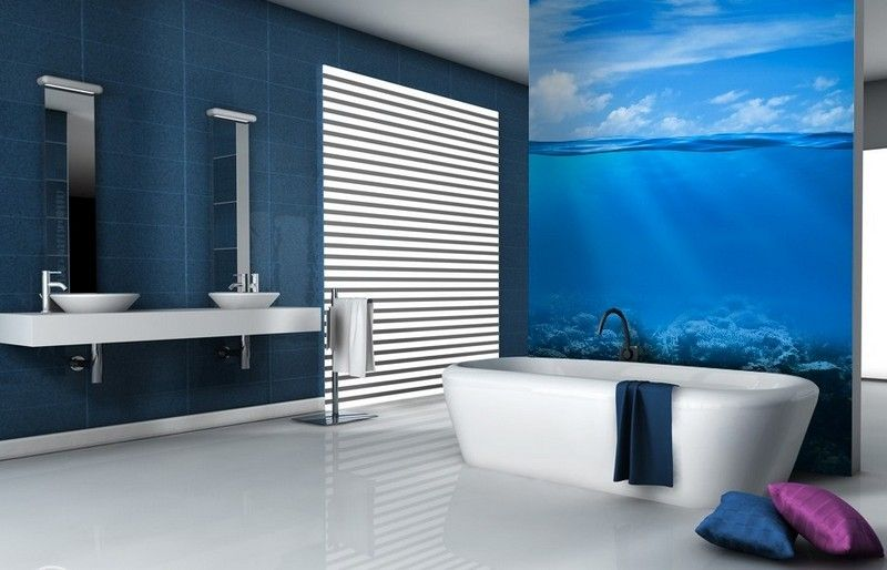 Lovely Moderne Wandgestaltung im Badezimmer Fototapete mit Wasserfall Badezimmer Pinterest Bath and Bedrooms