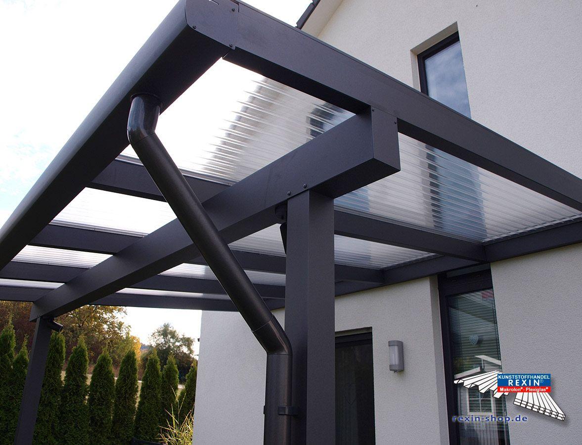 Ein Alu Terrassendach Der Marke Rexoclassic 4m X 3m In Anthrazit Mit Transparenten Plexiglas Resist 16 64 Stegpl Stegplatten Uberdachung Terrasse Terrassendach