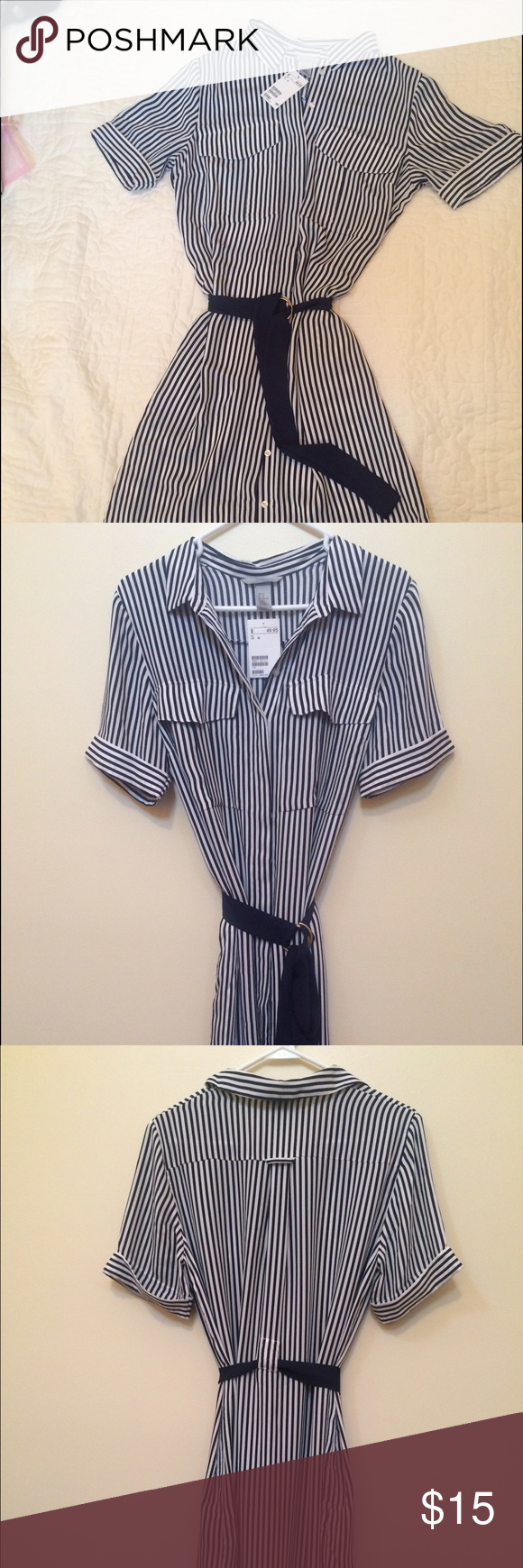 H & M silky black and white shirt dress. NWT Slinky and sophisticated, this is a versatile classic that can be dressed up or down.  Hem is a little lower in back than in front. H & M Dresses High Low