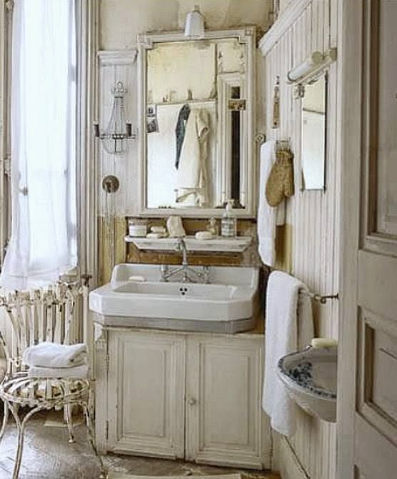 Shabby Chic Bathrooms: There's A Lot Going On Here... I Like It!