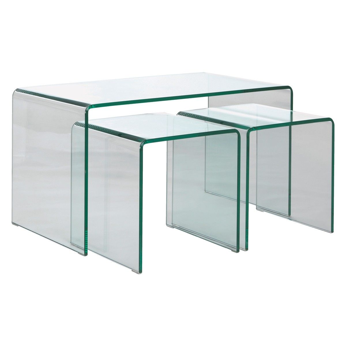 Habitat Herrmann Square Glass Coffee Table: GALA Glass Nested Coffee And Side Tables