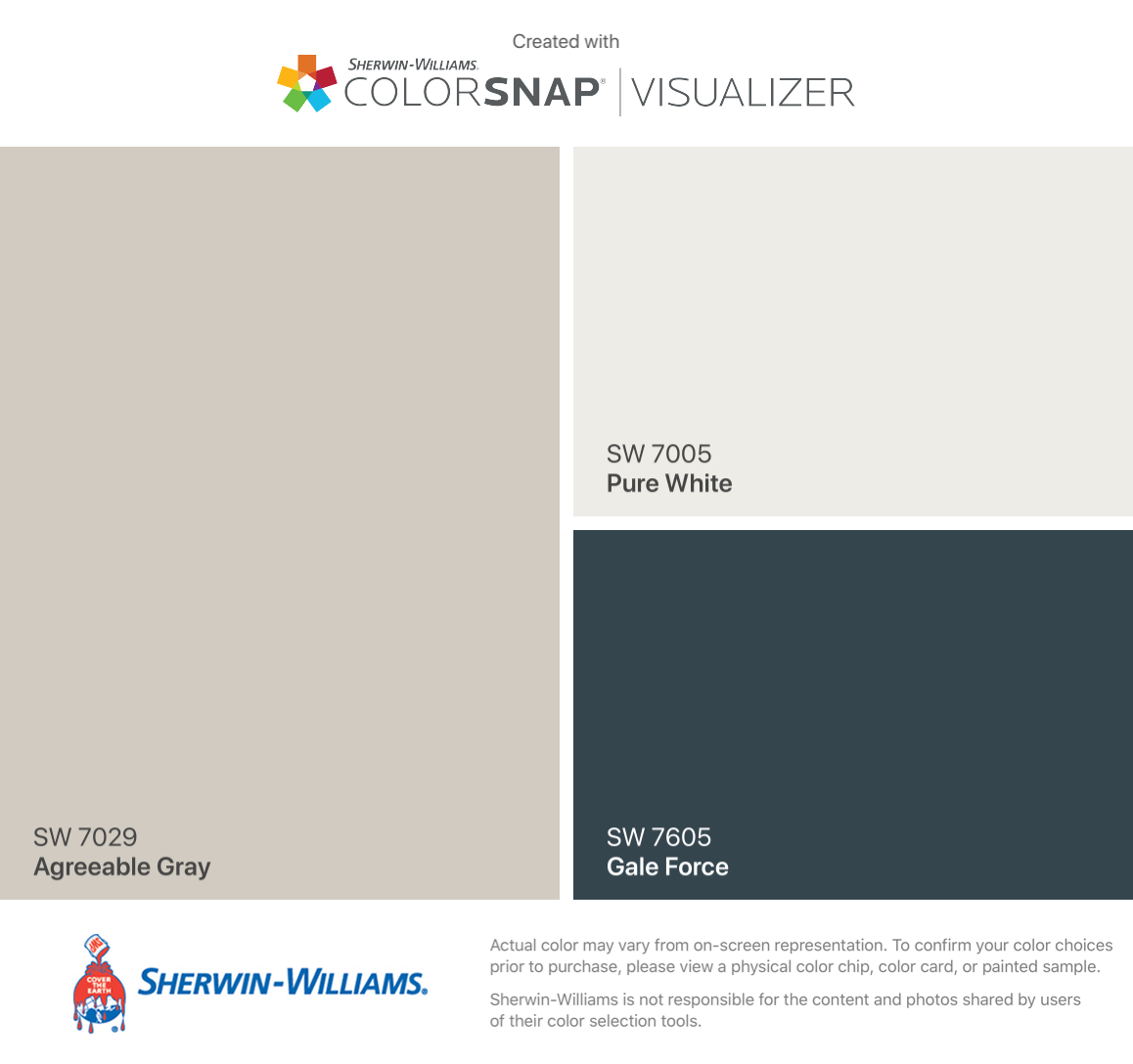 I found these colors with ColorSnap® Visualizer for iPhone by Sherwin-Williams: Agreeable Gray (SW 7029), Pure White (SW 7005), Gale Force (SW 7605). #sherwinwilliamsagreeablegray I found these colors with ColorSnap® Visualizer for iPhone by Sherwin-Williams: Agreeable Gray (SW 7029), Pure White (SW 7005), Gale Force (SW 7605). #sherwinwilliamsagreeablegray I found these colors with ColorSnap® Visualizer for iPhone by Sherwin-Williams: Agreeable Gray (SW 7029), Pure White (SW 7005), Gale Forc #sherwinwilliamsagreeablegray