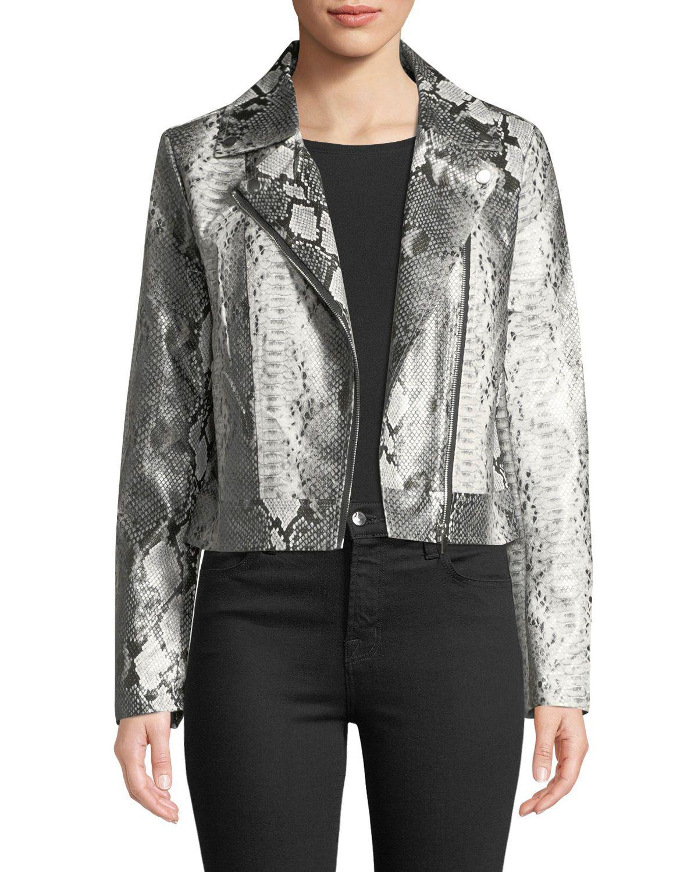c2e27d33663f Snake-Print Faux Leather Biker Jacket | Fall 2018 | Jackets, Leather ...