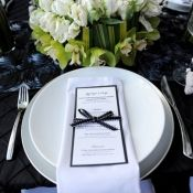 Vancouver Wedding Inspiration Black White Menu Ribbon White Charger Green Wedding Inspiration 35th Anniversary Ideas Wedding Inspiration
