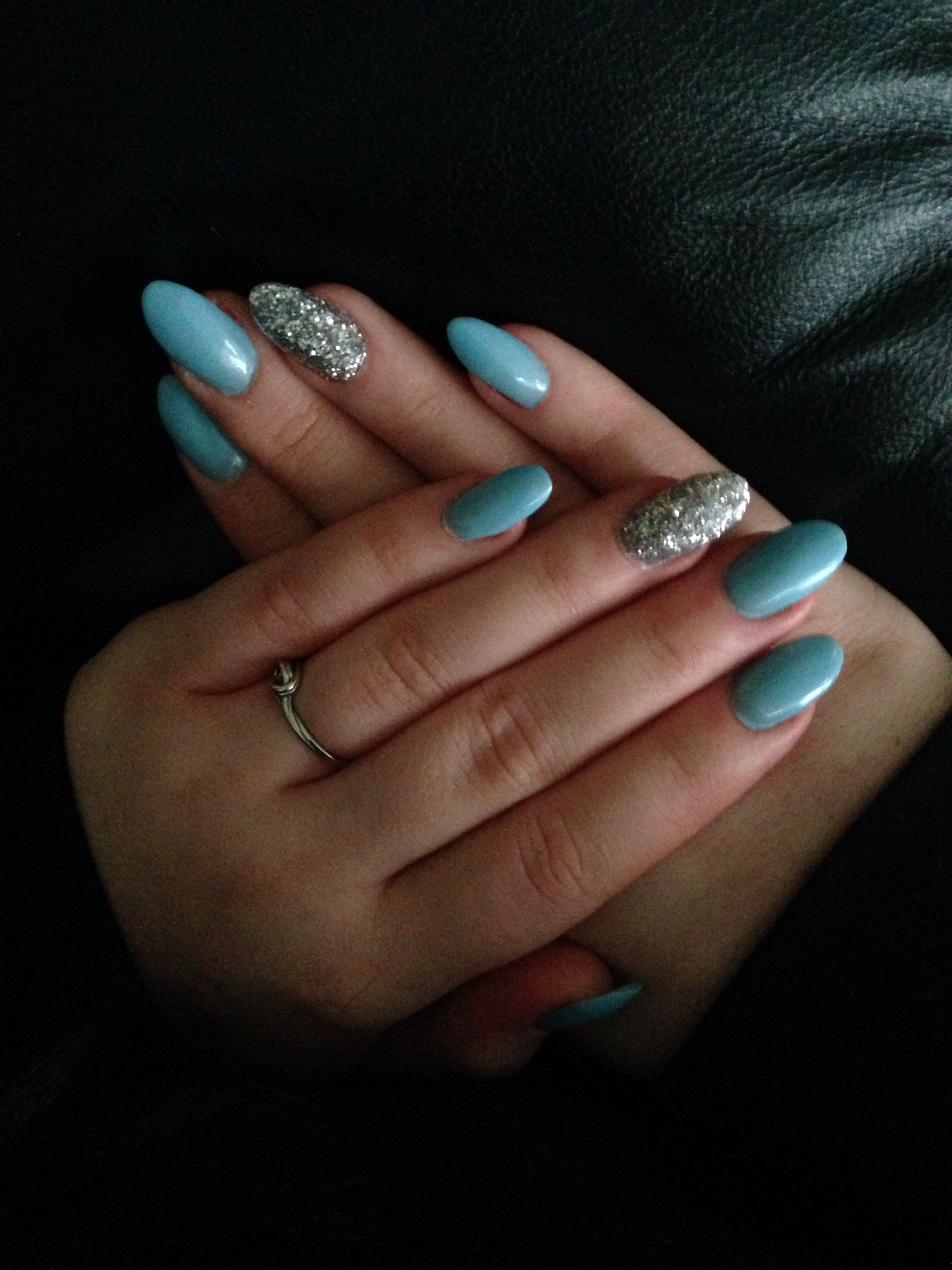Baby Blue Oval Almond Shaped Nails Neon Pink Nails Almond Shape Nails Pink Nails