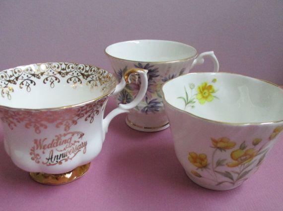 Replacement Bone China English Tea Cup Craft Supply Golden Tea Cups English Tea Cups Teacup Crafts