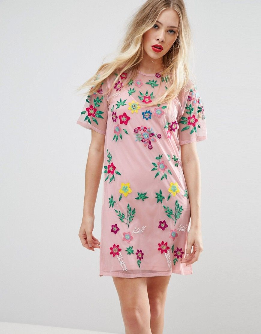 ASOS PREMIUM Mesh T-Shirt Dress with Floral Embroidery - Pink ...