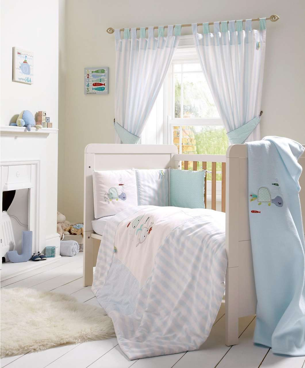 Bubble Blue 5 Piece Cot Cotbed Bedding Curtains Set Bubble Blue Mamas Papas Baby Blue Bedding Blue Bedding Baby Nursery Bedding