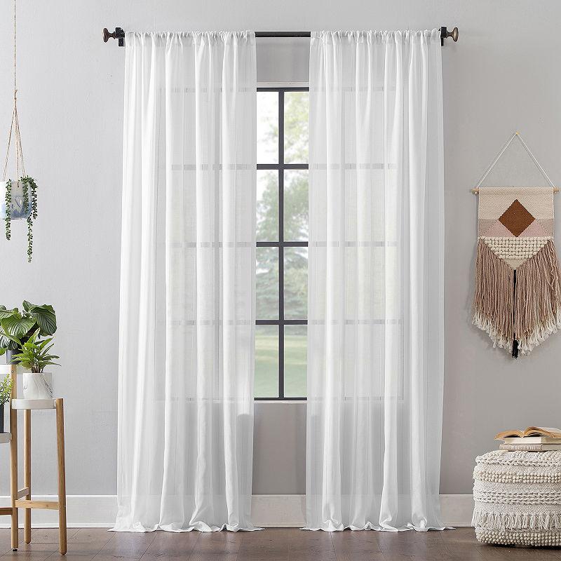 Leno Weave Stripe Anti Dust Rod Pocket Curtain Panel Curtains